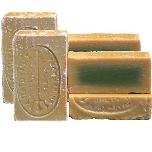 tradoro® vegane Grüne Olivenölseife - aus der Seifenmanufaktur Patounis 4er Pack (4 x 115 g)