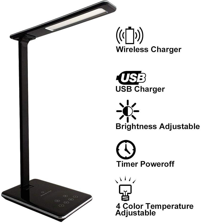 WIVION LED-Schreibtischlampe mit Qi-Wireless-Ladegert, dimmbares Nachtlicht, Faltbare Tischlampe, USB Ladeanschluss, Augenpflege, dimmbare Touch-Lampen, 4-Farben-Beleuchtungsmodus