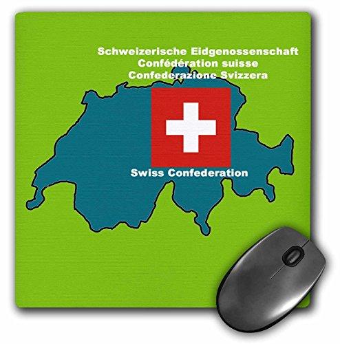 3drose LLC 20,3x 20,3x 0,6cm Maus Pad, Karte und Flagge der Schweiz mit Schweizer bedruckt in Englisch, Deutsch, Französisch und Italienisch (MP 47331_ 1)