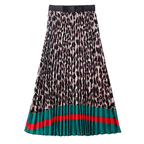 Azastar dames vouwrok lente zomer chiffon A-lijn knielange rok luipaardprint plissé Boheemse strandrok