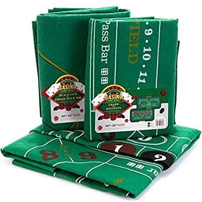 """4-in-1 Casino Game Felts Bundle: Blackjack, Texas Hold 'em, Roulette & Craps - Two Double-Sided 72"""" x 36"""" Gaming Mats - Roll Out Felt for Gambling Games - Great for Poker Nights & Family Game Night"""