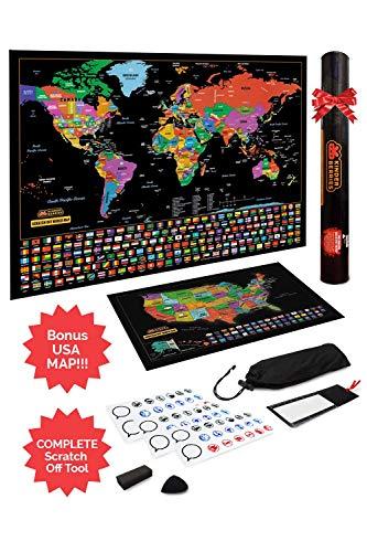 Scratch Off Map of The World/United States USA, Scratchable Travel Wall Art, Large World Map Poster, Travel Tracker US State & Country Flags - Memory Stickers, Magnifier & Scratch Art Tool