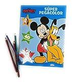 Disney Peindre et coller avec Mickey Super Pegacolor Livre de coloriage 40 autocollants bleus