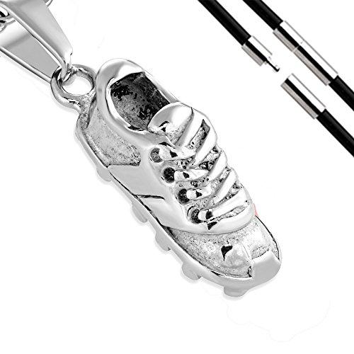 BlackAmazement 316L Edelstahl Anhänger Fussballschuh Soccer Sport Schuh Halskette Leder Kette Silber schwarz Gold Damen Herren (Farbe Silber mit Kette)