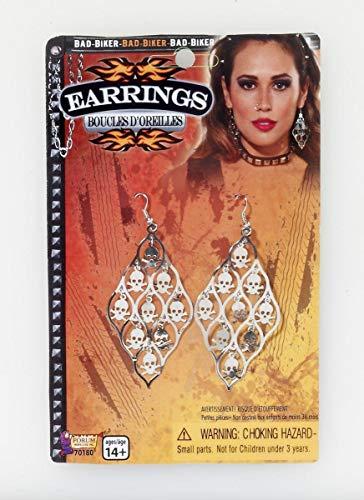 Forum Novelties Biker Skull Dangle Earrings Costume Jewelry One Siz