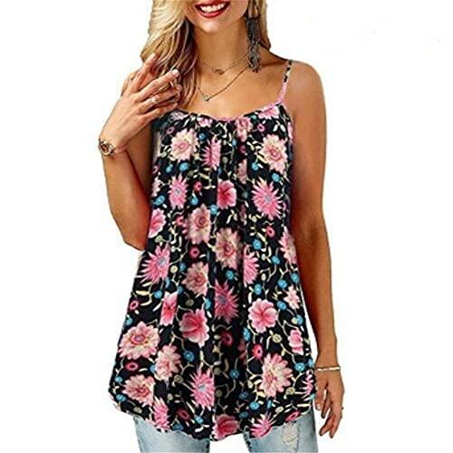 Camisola Mujer Elegante Vintage Floral/Estampado Ondas Sin Mangas Cuello Redondo Tops Mujer Verano Playa Viajes Vacaciones Sueltas Largas Mujer Tops H-Navy XL