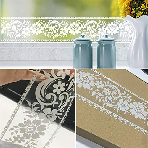 Bordüre, 10 x 100 cm-Rolle, weiß, Spitze, transparent, ablösbar, selbstklebend, wasserdicht, für Fenster, Glas ,Badezimmer oder Spiegel, als Dekortion für Wand, mit Blumenmuster, transparent