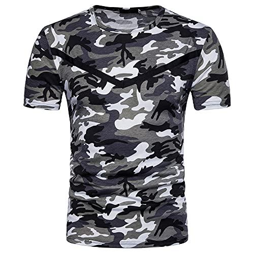 Camiseta Hombre Cuello Redondo Elástico Camuflaje Manga Corta Hombre Verano Ligero Y Cómodo Vacaciones Ocio Clásico Camisa Deportiva Hombre A-Grey XXL