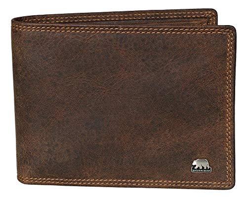Brown Bear Portemonnaie Herren Leder Braun Vintage Quer-Format mit RFID Schutz Business Doppelnaht hochwertig Geldbeutel Männer Geldbörse Portmonaise Portmonee Ledergeldbeutel Ledergeldbörse