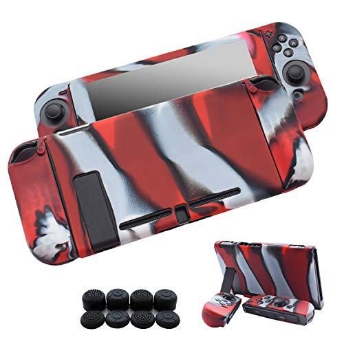 Hikfly Gel de Silicona Agarre Antideslizante Kits de Protección Carcasas Cubrir Piel para Nintendo Switch Consolas y Joy-Con Controlador Con 8pcs Gel de Silicona Empuñaduras Gorras (Rojo Camuflaje)