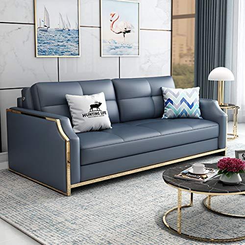 SND-A Premium Cabrio Sofa Futon Mit Platzsparenden Ablagefächern, Schlafsofa Couch Für Wohnzimmer, Ergonomisches Design, Faltbare Loveseat Sleeper Sofa Möbeldekoration,Blau,1.48M
