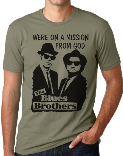OM3 - Blues Brothers - Mission from GOD - T-Shirt Jake and Elwood Blues USA, L, Oliv