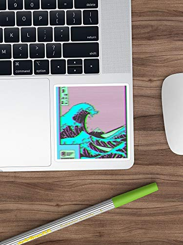 The Great Wave Off Vaporwave Kanagawa Sticker Window Vinyl Sticker for Cars, Trucks, Windows, Walls, Laptops (Longest Side 3