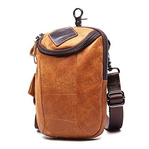 Vintage Bag Men Casual Small Waist Bag Genuine Leather One Shoulder Messenger Crossbody Bags Waist Fanny Pack for Men Male Crossbody Bag (Color : Light Brown, Size : S)