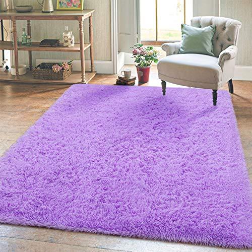 Super Soft Kids Room Nursery Rug 4' x 6' Purple Area Rug for Bedroom Decor Living Room Floor Carpets Fur Mat by VaryCarry