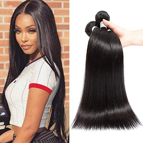 Blisshair 8A cabello humano virgen brasileño remy recto de 3 paquetes de extensiones de cabello humano sin procesar color natural para mujer 12  14  16