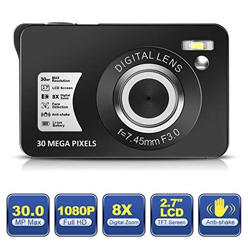 Digitalkamera 1080P HD 30MP Kamera Wiederaufladbare 2,7-Zoll-Fotoapparat-digitalkamera Studenten Fotokamera-Taschenkamera Digital mit 8-Fach Zoom-Kompaktkamera für Fotografie