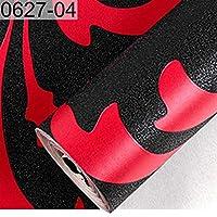 ウォールステッカーステッカー壁紙 ブラックホワイト3Dビクトリア朝のダマスクエンボス壁紙ロールのホームインテリアリビングルームのベッドルーム壁装材花の高級ウォールペーパー (Color : 0627 04, Dimensions : 9.5mx0.53m)