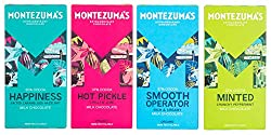 Montezuma's Milk Chocolate 4 x 90g Mixed Case Selection including: 1 x Hot Pickle - Milk Chocolate With Chilli & Lime, 1 x Smooth Operator Milk Chocolate 1 x Happiness Milk Chocolate with Salted Caramel Hazelnuts, 1 x Minted Milk with Crunchy Pepperm...