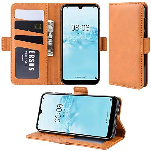 HualuBro Handyhülle für Oppo A32 2020 Hülle, Oppo A53 2020 Hülle, Premium PU Leder Brieftasche Schutzhülle Handytasche LederHülle Flip Hülle Cover für Oppo A53 2020 Tasche - Orange