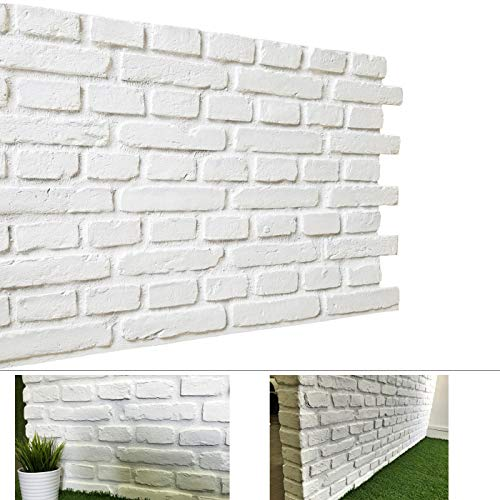 3D Wall Panels for Interior and Exterior Wall Decoration Brick Design, 3D Decoration Tiles Solid Brick Design Pack of 4 Tiles (FRP) (Vintage, White Matt)