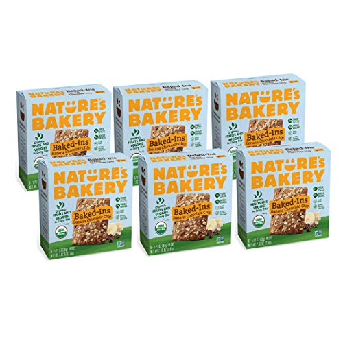 Nature's Bakery Baked-Ins Bars Banana Chocolate Chip, Organic Fruits & Veggies, Vegan, Non-gmo, Organic Snack, 6 Boxes With 6 Packs, 36 Count