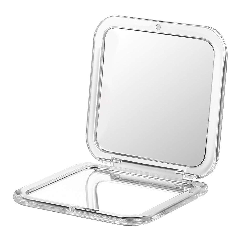 対抗平方ハックコンパクト鏡 拡大鏡 両面コンパクトミラー 卓上 2倍 化粧鏡