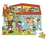 Janod - Puzzle con maleta redonda, Fiesta de Compleanos, 36 piezas (J02764)