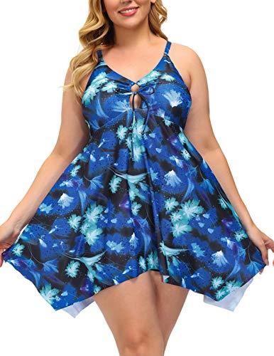 Hanna Nikole Women's One Piece Plus Size Swimsuits Tummy Control Swimwear Bathing Suits 28W