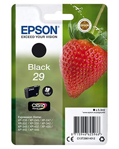 Epson Original 29 Tinte Erdbeere, XP-235 XP-332 XP-335 XP-432 XP-435 XP-245 XP-342 XP-345 XP-442 XP-445 XP-247 XP-257 XP-255 XP-352 XP-355 XP-452 XP-455, (schwarz)
