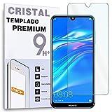 REY Protector de Pantalla para Huawei Enjoy 9 - Y7 Prime 2019 - Y7 Pro 2019 - Y7 2019, Cristal Vidrio Templado Premium