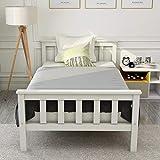 ModernLuxe Einzelbett, Holzbett aus Bettgestell mit Lattenrost Holzbett mit Kopfteil - Massivholz Jugendbett 90 x 200 cm Kiefer Massiv Bett Weiß lackiert Gästebett Bett Weiss