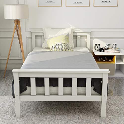 Belissy Sängram med spjälskydd 90 x 200 cm, vit enkelsäng ungdomssäng 90 x 200 cm barnsäng i träsäng av spjälsäng med ribbotgaller och sänggavel, singlevett massivt trä säng gästsäng