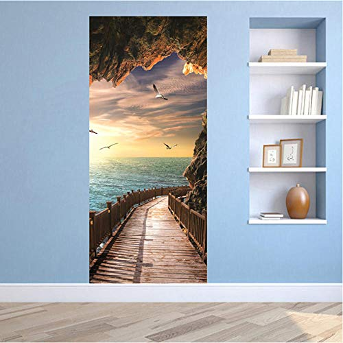3D Mural puerta Fondo pantalla cristal poster paisaje armario Decoración Hogar Vinilo Paisaje natural junto al mar Ilusión autoadhesivo prueba agua Art Moderno dormitorio 77X200CM