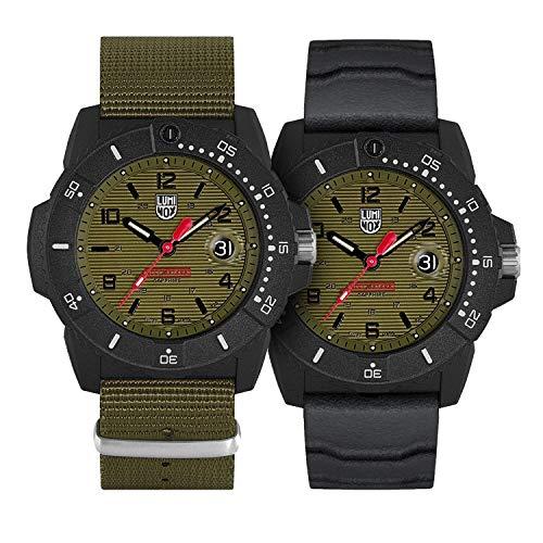 Luminox Mens Watch Navy Seal Magnifying Glass XS.3617.Set: 45mm Green, Black Dial Webbing Green Strap Water Resistance: 200 Meters