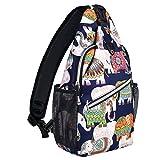 MOSISO Sling Backpack,Travel Hiking Daypack Pattern Rope Crossbody Shoulder Bag, Elephant