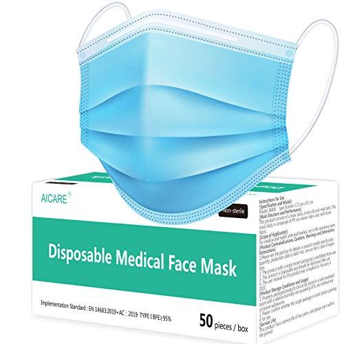 iBstone Medizinische Einweg-Gesichtsmaske, Typ I, CE-geprüft und getestet, Medizinprodukte-Verordnung (EU), BFE≥95, 3-lagig, 50 Stück
