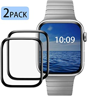 Tempered Glass Carbon Fiber Soft Edge Full Coverage HD 9H Hardness Scratch-Resistant High Sensitivity Compatible for Apple Watch Screen Protector(44MM)