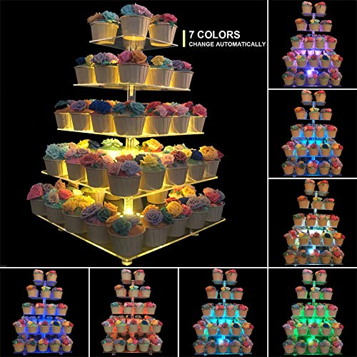 Monamour 5-Tier Cupcake Stand with 7-Color LED Light, Square Clear Acrylic Cupcake Tower, Dessert Display Stand, Layered Cake stand, Suitable for Weddings and Birthday Parties (5 Tier Square  7 Color