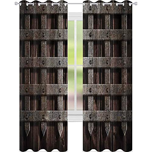Bedroom Blackout Curtains, Medieval Wooden Castle Wall and Gate Greek Style Mid-Century Designed Artwork Print, W96 x L96 Inch Blackout Curtain for Living Room, Grey