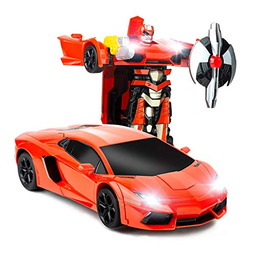 BSQS1 1:14 Model RC Car Transformation Car Toy with 360 Degree Spins RC Car One Button Deformation into Robot 2.4GHz High Speed Racing Car for Kids Dancing Robot Car with Sounds and Lights