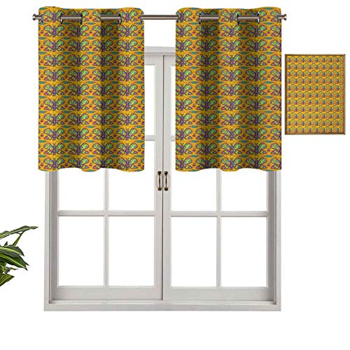 Hiiiman Insulated Thermal 100% Blackout Curtains Valance Colorful Wings Leaves and Cherries on a Warm Colored Background Circles Dots, Set of 1, 42'x18' for Bedroom with Grommets