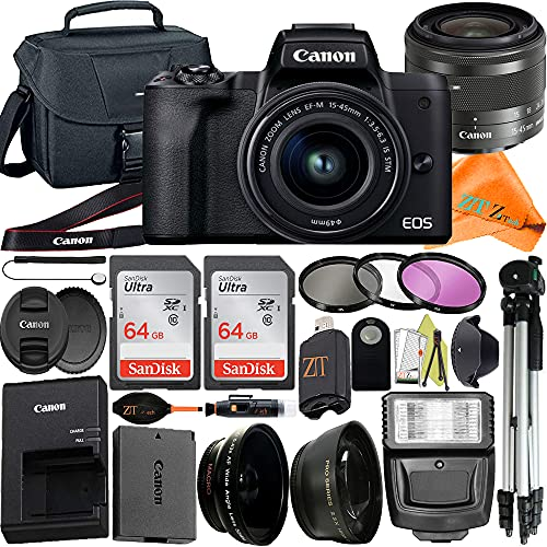 Canon EOS M50 Mark II Mirrorless Digital Camera with 15-45mm STM Lens + ZeeTech Accessory Bundle, 2 Pack SanDisk 64GB Memory Card, Tripod, Case and Flash Light (22 pcs Bundle)
