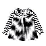 FEESHOW Kleinkind Mädchen Schöne Karierte Bluse Hemden Trachtenbluse Blüschen Bequeme Baumwolle Oktoberfest Trachtenmode Babybekleidung Rot Weiß Schwarz & Weiß_B 86-92