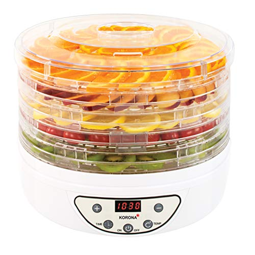 Korona 57010 Dörrautomat mit Timer | Trocknet Früchte, Gemüse, Fleisch, Fisch, Kräuter | 35-70°C | 5 höhenverstellbare Ebenen | LED Display