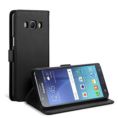 Simpeak Coque Compatible pour Samsung Galaxy J5 2016, Housse en Cuir Flip Case Coque de Protection Compatible pour Samsung Galaxy J5 2016 avec Carte Fente [Stand Feature][Fermeture Magnétique] - Noir