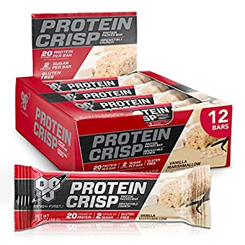 BSN Protein Bars - Protein Crisp Bar by Syntha-6 Whey Protein 20g of Protein Gluten Free Low Sugar Vanilla Marshmallow 12 Count