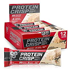 BSN Protein Bars - Protein Crisp Bar by Syntha-6, Whey Protein, 20g of Protein, Gluten Free, Low Sug
