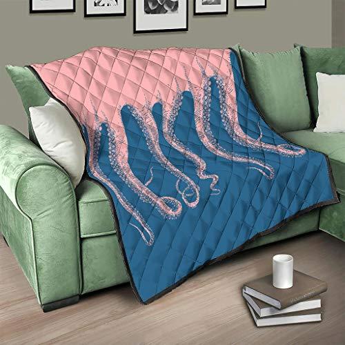 Flowerhome Colcha oceánica con diseño de pulpo, para cama o sofá, para todo el año, para adultos y niños, color blanco, 180 x 200 cm