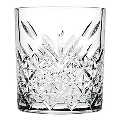 """Timeless 12 oz Double Old Fashioned Glass - Etched - 3 1/4"""" x 3 1/4"""" x 3 3/4"""" - 6 count box - Restaurantware"""